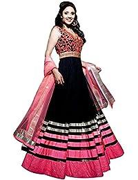 Jheel Fashion Womens Georgette Pink & Black Semi-Stitched Dress