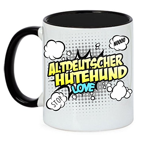 Hund Tasse COMIC - ALTDEUTSCHER HÜTEHUND - Hunde Fun Kaffeebecher Siviwonder