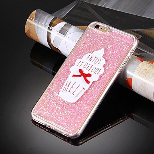 MXNET Case für iPhone 6 Plus & 6s Plus, Glitzer Powder Ice Cream Words Pattern Soft TPU Schutzhülle Holster iphone 6p/6s plus ( Color : Silver ) Pink