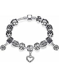 Bracelet charms breloque Toogle T - Plaqué argent sterling 925 00 - Bijou  fantaisie haut de gamme - Cœurs - Argenté - Sonia - Cadeau… 208317dd13b2