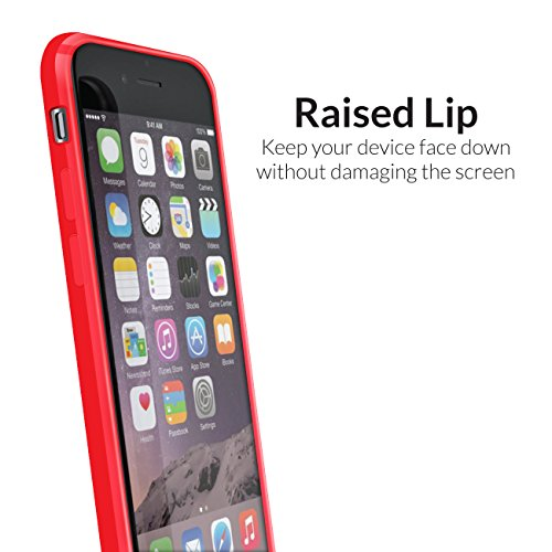 Orzly® FUSION Bumper Case für Apple iPhone 6 & 6S (4.7-Zoll Modell 2014 & 2015 Version) - Schutz Hard Cover mit stoßabsorbierenden Gummi SCHWARZ Rim und Voll Transparente Rückseite ROT Fusion für iPhone 6 & 6S