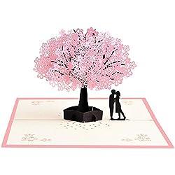 GXL Cherry Blossom Liebhaber Pop-Up-Karte, 3D-Karte, Grußkarte, Geburtstagskarte, Valentine 's Day, Hochzeit Karte