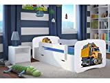 Kocot Kids Kinderbett Jugendbett 70x140 80x160 80x180 Weiß mit Rausfallschutz Matratze Schublade und Lattenrost Kinderbetten für Mädchen und Junge - Truck 180 cm