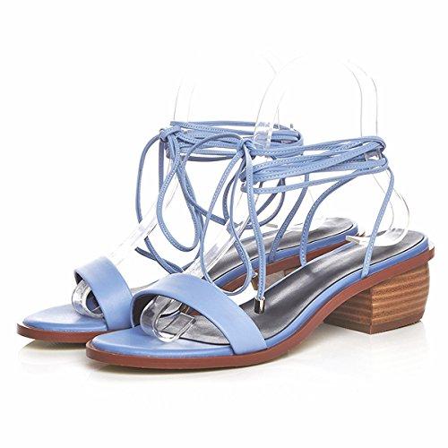 Damen Pumps Open Toe Sandalen Blockabsatz Kn?chelriemchen Slingback Blau