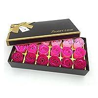 Xrten Rose Fragrance Soaps Gift Box Set of 18 Rose Flower Fragrance Soaps for Valentine