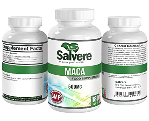Maca Root Powder Capsules - Improve Fertility in men and Women - Combat Effects of Menopause - Boost Energy and Sexual Health - Maca 10:1 - 500mg - 180 Tablets - Food
