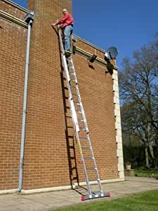 6.26m TRADE MASTER 3 Section Extension Ladder / Ladders with Integral Stabiliser