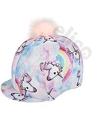 Elico Lycra Riding Hat Cover Fantasia Pastel Unicorn with Pom Pom