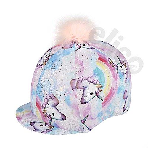 Elico Lycra Fantasia - Funda para Gorro de equitación (diseño de Unicornio Pastel con Pompones)