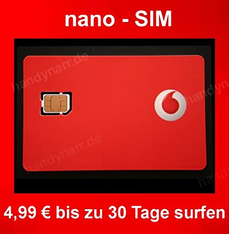 Vodafone D2 WebSessions Prepaid nano Surf SIM Karte max. 7,2