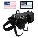 Tactical Molle Hundegeschirr, verstellbar, mit 3 abnehmbaren Taschen/Patches für mittelgroße und große Hunde (Zwei amerikanische Flagge optional oder Nicht)