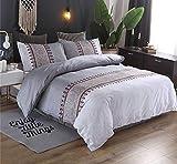 WNJ-bedding Fundas de edredón, Estilo nórdico Impresión Floral Duvet Cover Sheet 3 unids Conjuntos de Ropa de Cama Textiles para el hogar Ropa de Cama Colcha de Color Plata (Size : UK Double 3pcs)