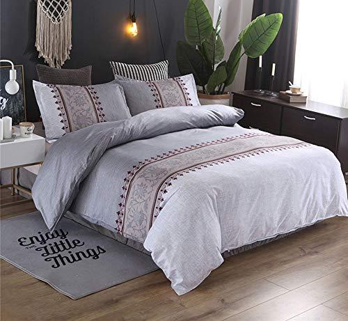 Nordischen Stil Druck Floral Bettbezug Blatt 3 stücke Bettwäsche-Sets heimtextilien bettwäsche bettdecke Silber Farbe Bettbezüge Bettwäsche-Sets (Size : Super King 3pcs) -