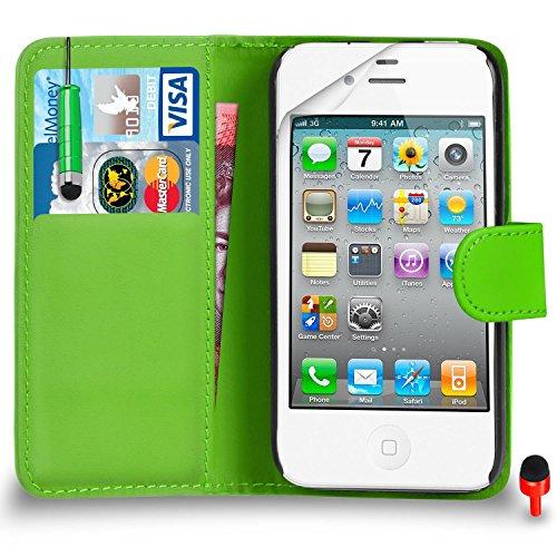 Apple iPhone 4 / 4S Premium Leather Portefeuille ORANGE flip écran Housse Etui + Mini tactile Stylet + Protecteur & Chiffon SVL1 PAR SHUKAN®, (Portefeuille ORANGE) Portefeuille VERT