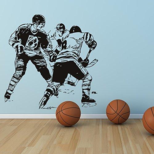 W Hockey Spiel (Eishockey Spiel Skates Hockey Wandsticker Stadion Gymnastik-Sport-Dekor-Kunst-Abziehbilder verfügbar in 5 Größen und 25 Farben Extragroß Schwarz)