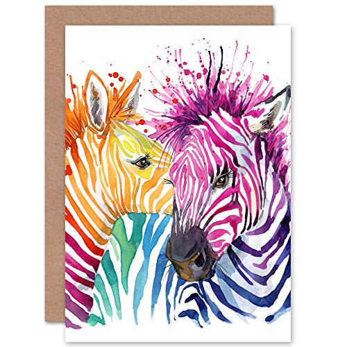 FINE ART PRINTS Rainbow Zebra Painting Greeting Card with Envelope Inside Premium Quality Regen Malerei - Rainbow Fine Art
