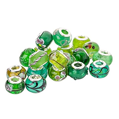 RKC Colourful Green Glass CHARM Beads BUY 1 to 100 Pcs Silver Plated MULTI DESIGN Murano Lampwork European Crystal Charms Bead Spacers For / Fits Pandora Troll Chamilia Chain SNAKE Bracelets