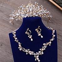 QQA Bride Wedding Jewelry Crystal Beads Necklace Pearl Earrings Handmade Diamonds Golden Hair Band Studio Wedding Dress Accessories Crown