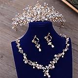 Bride Novia Boda Joyas Cuentas De Cristal Collar Pendientes De Perlas Diamantes Hechos A Mano Banda De Pelo Dorado Estudio Vestido De Novia Accesorios Corona