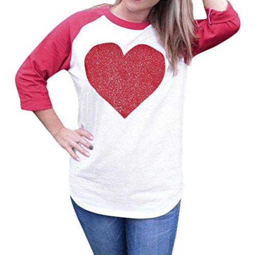 SUCES Langarm-Rundhalsausschnitt Love Heart Printing Shirt BluseDamen Shirt Bluseshirt mit Blumendruck Basic Langarmshirt Striped Oberteil Casual Tops Bluse Elegant Lose Frühling (XL, Red) (Henley Shirt Long Striped Sleeve)