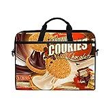 Ahomy 14 Zoll Laptop Tasche Schokolade Milk Cookies Canvas Stoff Laptop Tasche Bussiness Handtasche mit Schultergurt für Damen und Herren
