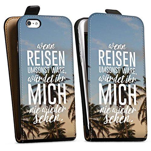 Apple iPhone X Silikon Hülle Case Schutzhülle Reise Palmen Urlaub Downflip Tasche schwarz
