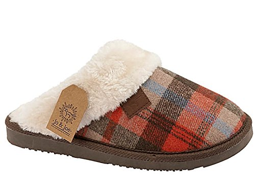 Ladies Tartan Faux Fur Trim Slip On Mule Slippers Shoes Size 3-8 (UK 5, Brown Tartan)