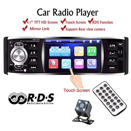 GOFORJUMP Autoradio-Spieler Autoradio 1 Din 12v 4,1 Zoll Touchscreen Auto Audio Spiegel Link RDS Bluetooth Rückfahrkamera Autoradio (Audio Touch Screen Auto)