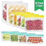 MELLIEX 10 Stück Wiederverwendbare Gefrierbeutel, 3 Größen PEVA Zip Obst und Gemüsebeutel in Lebensmittelqualität von der FDA für Obst Gemüse Snacks Fleisch und Brot