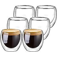 Vasos doble pared, Domowin Vasos Térmicos de Doble Pared Térmica de vasos tazas para café Espresso,Macchiato o Té, 80ml (Set de 6)