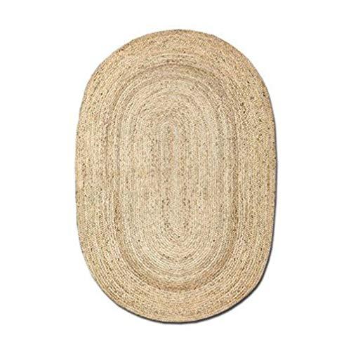 AMON LL Handgewebte Jute große Stroh Teppiche, ovale Kissen Meditation Mat Weben Tatami,120 * 120cm -