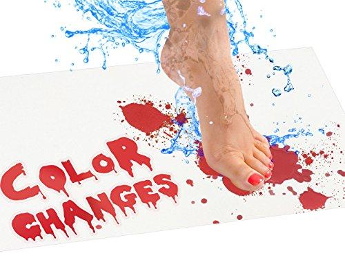 Bloody Badvorleger - Farbwechsel-Badvorleger, rot, wenn nass - Machen Sie Ihre eigenen Blutungen, die Verschwinden, weiß - Bettlaken, für Dusche/Badezimmer Regulär Regular weiß