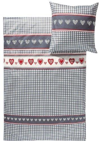 Erwin Müller warme Bettwäsche, Bettgarnitur Flanell karo, Herz grau-rot-weiß, Größe 155x220 cm (40x80 cm) - für die kalte Jahreszeit, hautsympathisch, weich, flauschig, mit Reißverschluss (weitere Größen) - Karo-flanell-bettwäsche