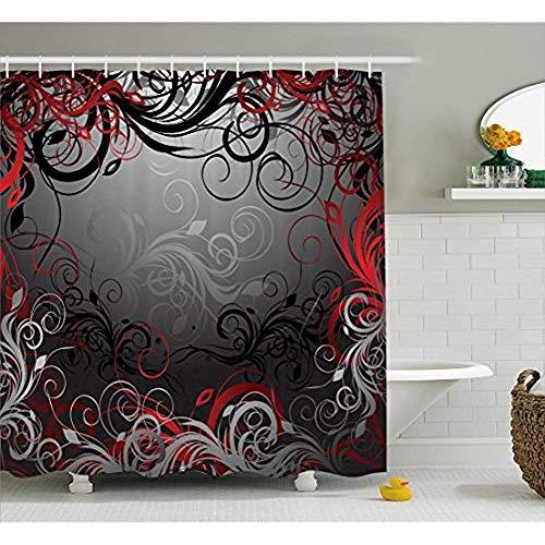 Yeuss rot und schwarz Duschvorhang von Mystic Magical Forest inspiriert Floral wirbelt Blätter Natur Artwork, Stoff Badezimmer Dekor Set mit Haken, Kohle grau Rubin 72 'x 72'