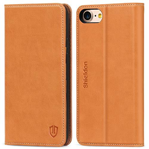 SHIELDON iPhone 8 Hülle Case Handyhülle [Echtleder] TPU Schutzhülle als [Brieftasche] Lederhülle Handytasche Kartenfach Magnet Standfunktion Kompatibel für iPhone 7/8, Braun -