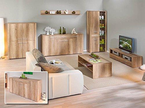 Links 22500005 Anrichte Kommode Diele Wohnzimmer 4-türig Schublade Wildeiche weiß hochglanz NEU - 3