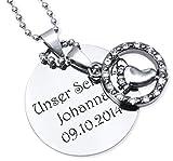 dy_schmuck Gravur Anhänger Halskette Mutterschmuck Taufschmuck und persönlicher Laser Gravur / Halskette in 45cm - DYS008-LmG