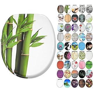 WC Sitz mit Absenkautomatik, große Auswahl, schöne Motive, hochwertige und stabile Qualität aus Holz (Bambus Grün)