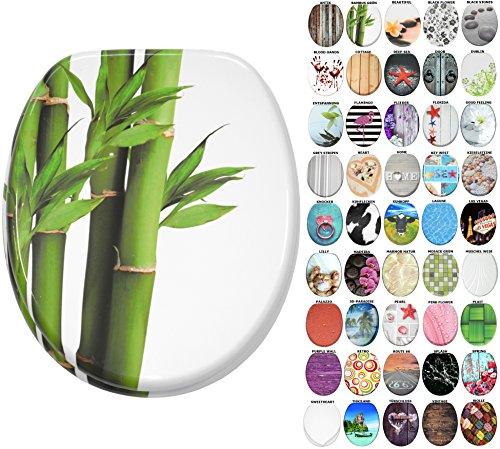 WC Sitz mit Absenkautomatik, große Auswahl, schöne Motive, hochwertige und stabile Qualität aus Holz (Bambus Grün) - Grüner Bambus
