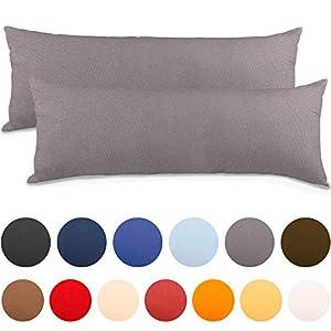 2er Set Seitenschläferkissen Bezug 40x145 Kissenbezug Stillkissen-bezug, Jersey Qualität Kissenhüllen mit Reißverschluss 100% Mako-Baumwolle, Classic Line aqua-textil 0010849 dunkel-grau