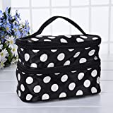 Portable Multifunktional Kosmetiktasche Dots Pattern Widerstandsfähig Wasserdichte Double Layer Dual Zipper Toiletry Bag Toiletry Wash Bag for Travel, Home Use mit Griff und Spiegel Molie