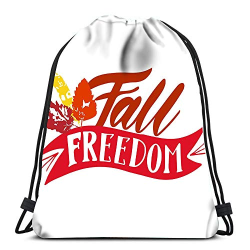 Gym Drawstring Backpack Sport Bag Fall Freedom Red Yellow Orange Leaves Ribbon Lightweight Shoulder Bags Travel College Rucksack for Women Men -