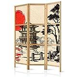 murando - Paravent Japan Orient Zen 135x171 cm - 3-teilig - einseitig - Eleganter Sichtschutz - Raumteiler - Trennwand - Raumtrenner - Holz - Design Motiv - Deko p-B-0026-z-b