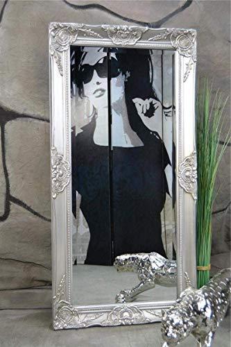 Livitat® Wandspiegel Spiegel barock antik Silber Badspiegel 100 x 50 cm Facettenschliff (Silber) -