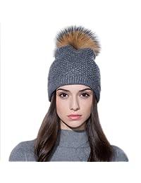 Ferand Berretto invernale per donne in Pelliccia di Procione Cappello Pon  Pon con Cristalli 6774e40e7b77