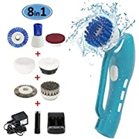 Scrubber,EVERTOP Electric Power Cleaning Brush Scrubber Handheld Cordless Multi-functional scrubber brush with Rechargeable Battery and 8 Brush Head for Kitchen/Bathroom/ window cleaning/Furniture/Cars(Power Scrubber 8pcs)
