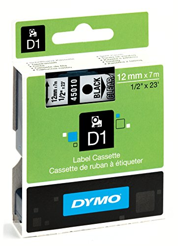 Dymo D1 Standard Self-Adhesive Labels for LabelManager Printers, 12 mm x 7 m - Black Print on Clear Test
