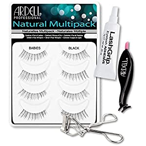 Ardell Fake Eyelashes Babies Value Pack - Natural Multipack Babies (Black), LashGrip Strip Adhesive, Dual Lash Applicator, Cameo Eyelash Curler - Everything You Need For Perfect False Eyelashes by Ardell