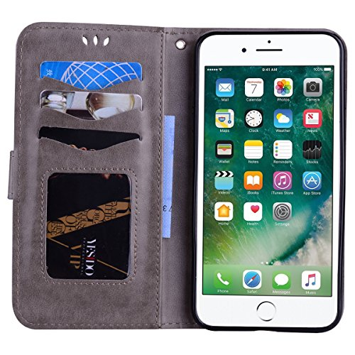Custodia iPhone 7 Plus 5.5,Custodia iPhone 8 Plus 5.5,ToDo Slim PU Pelle Cover per iPhone 7 Plus / 8 Plus 5.5 Unicorno Bling Glitter Disegno Portafoglio Libro Flip Copertina Protective Case Chiusur Grigio