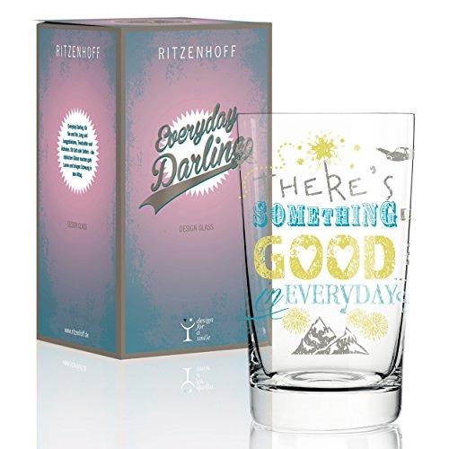RITZENHOFF Everyday Darling Softdrinkglas von Petra Mohr (Something Good), aus Kristallglas, 300 ml, mit trendigen Dekoren - Wasser Trink Gläser